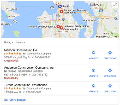 Local Google results sample