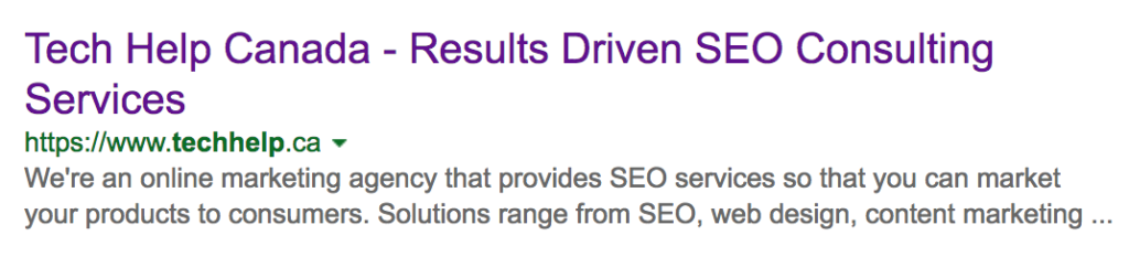 Bing search snippet example