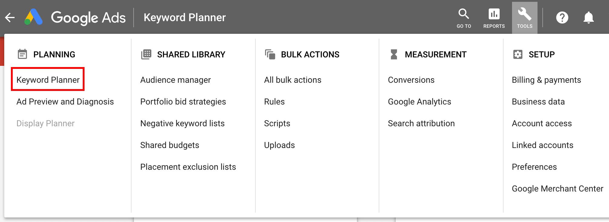 finding keyword planner