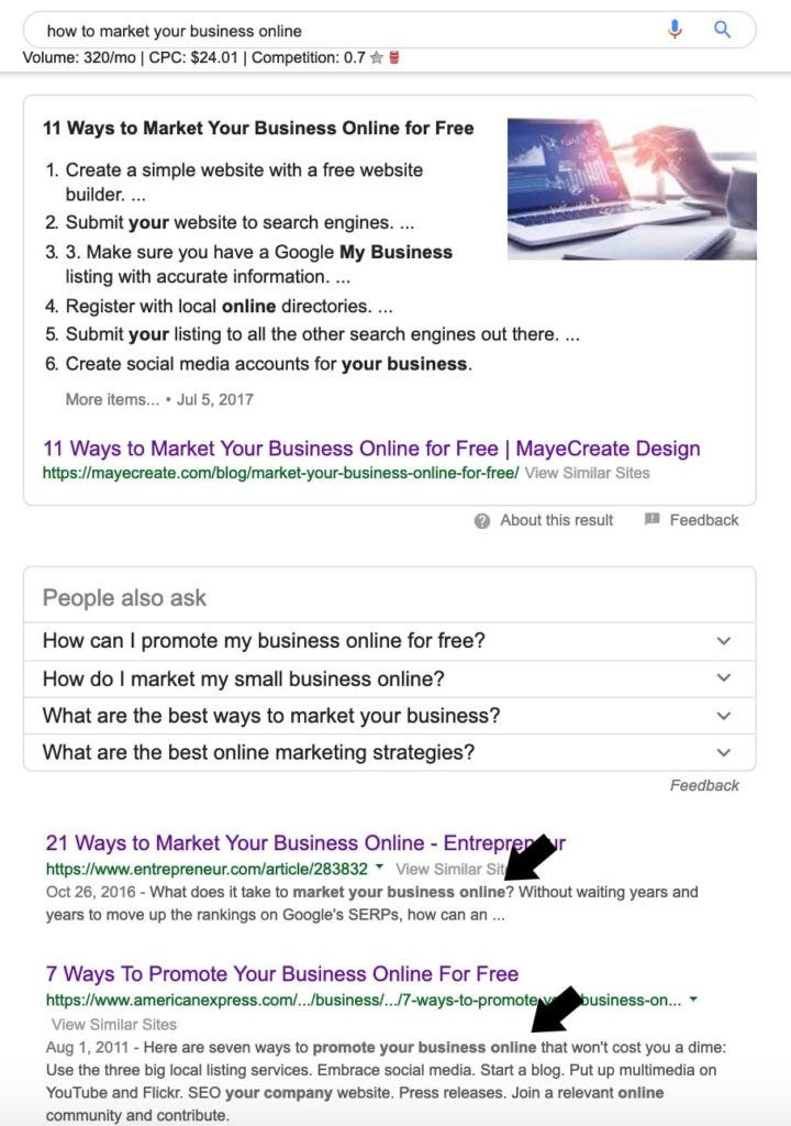 Example of how keywords are used to rank pages