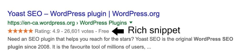 Rich snippets screenshot or example