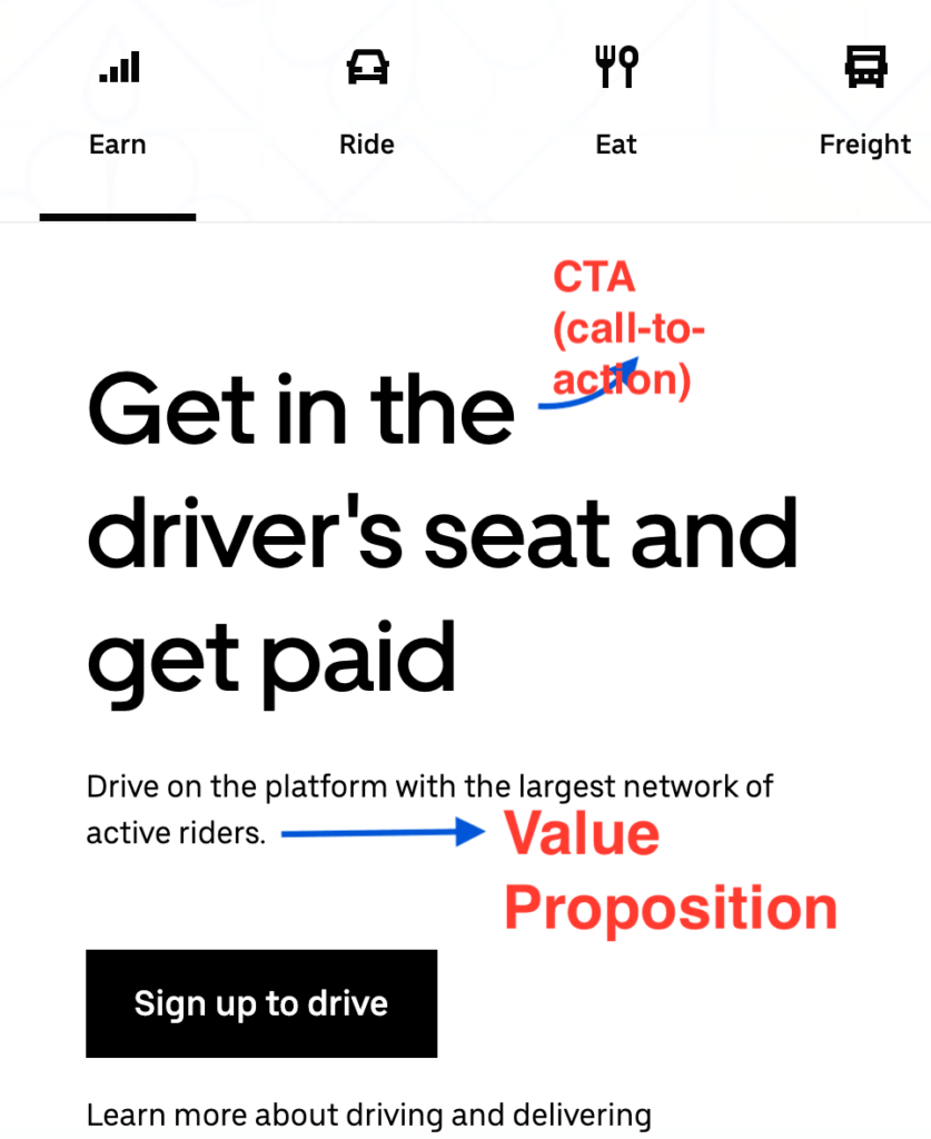 Value proposition example from Uber.